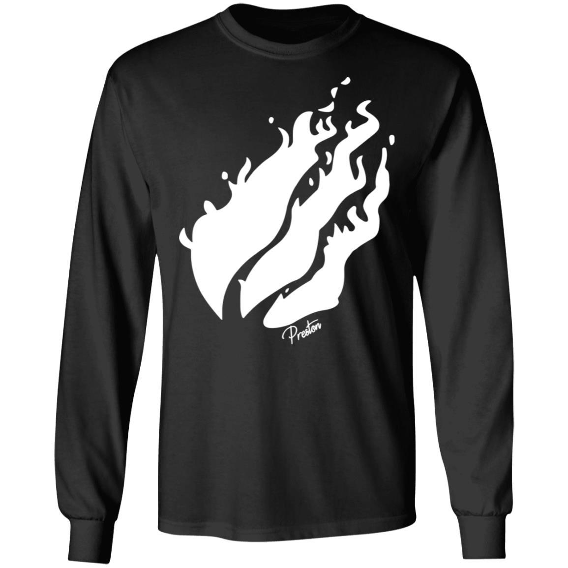 Preston Merch Black Hoodie White Flame Fire Logo - Tipatee